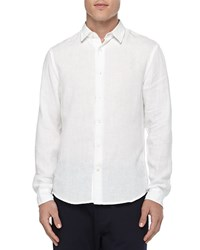 Vince Button Down Linen Chambray Shirt White