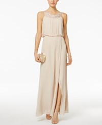 Jessica Howard Braided Neck Blouson Gown Champagne