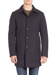 Saks Fifth Avenue Collection Reversible Quilted Wool Blend Coat Navy