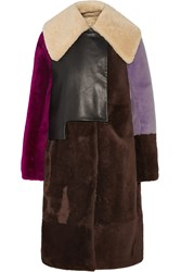 3.1 Phillip Lim Leather Paneled Shearling Coat Brown