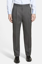Men's Linea Naturale Pleated Wool Dress Pants Charcoal