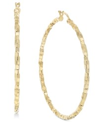 Macy's Skinny Square Textured Polished Hoop Earrings In 14K Gold Yellow Gold