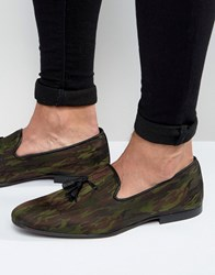 Asos Smart Loafers In Camo Khaki Green