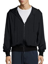 Vince Regular Fit Merino Wool Blend Zip Front Hoodie Black
