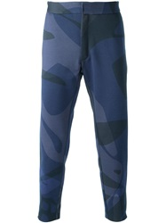 Alexander Mcqueen Camouflage Tapered Trousers Blue