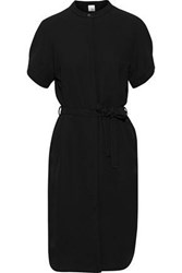 Iris And Ink Woman Solveig Belted Crepe Shirt Dress Black