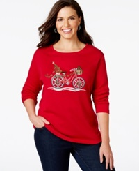 Karen Scott Plus Size Holiday Bike Graphic Top Only At Macy's New Red Amore