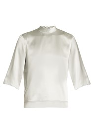 Helmut Lang Tie Back Silk Charmeuse Top Silver