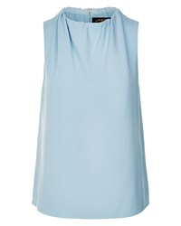 Jaeger Ruched Neck Sleeveless Top Blue