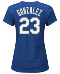 Majestic Women's Adrian Gonzalez Los Angeles Dodgers T Shirt Royalblue