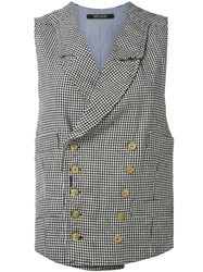Ermanno Gallamini Check Waistcoat Women Cotton Linen Flax L Black
