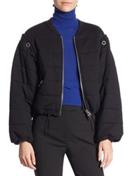 3.1 Phillip Lim Cotton Quilted Bomber Jacket Black Grey Melange