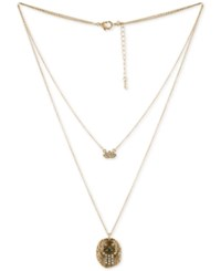 Rachel Roy Gold Tone Pave Lotus And Eye Double Row Pendant Necklace