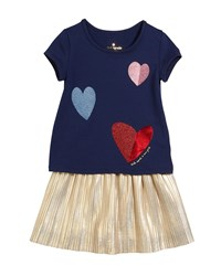 Kate Spade Tossed Hearts T Shirt W Metallic Skirt Set Size 2 6X Blue