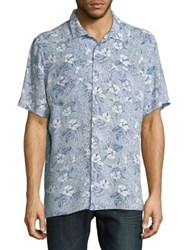 Black Brown Floral Short Sleeve Button Down Shirt Pale Blue