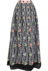 Peter Pilotto Kinetic Cloque Maxi Skirt Silver