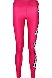 Adidas By Stella Mccartney Printed Color Block Climalite Stretch Leggings Pink