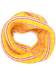 Issey Miyake Pleats Please By Striped Plisse Scarf Yellow And Orange