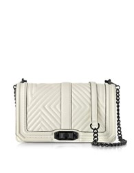 Rebecca Minkoff Antique White Leather Geo Quilted Love Crossbody Bag Off White