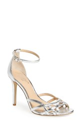 Badgley Mischka Women's Haskell Ii Strappy Sandal Silver Leather