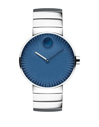 Movado Edge Stainless Steel Textured Dial Bracelet Watch Silver