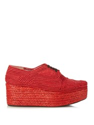 Robert Clergerie Pinto Woven Raffia Lace Up Flatform Shoes