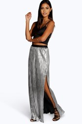 Boohoo Elle Metallic Pleated Split Maxi Skirt Silver