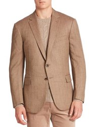 Ralph Lauren Purple Label Wool And Silk Blend Blazer Tan Brown