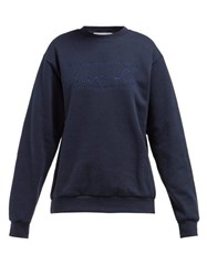 Martine Rose Logo Embroidered Cotton Sweatshirt Navy