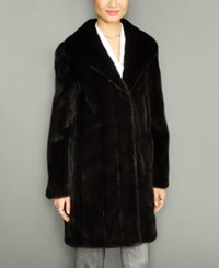 The Fur Vault Wing Collar Mink Coat Black
