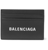Balenciaga Logo Print Full Grain Leather Cardholder Black