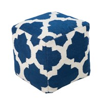 Surya Frontier Cube Pouf 1 Dark Blue Cream Small