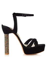 Sophia Webster Belle Crystal Heel Suede Sandals Black