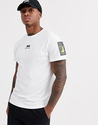 Helly Hansen Yu Logo T Shirt In White With Neon Logo