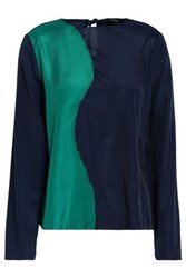 Raoul Two Tone Satin Blouse Emerald