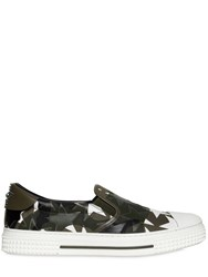 Valentino Camustars Canvas Slip On Sneakers