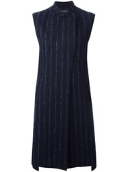 Cedric Charlier Pinstripe Sleeveless Coat Blue