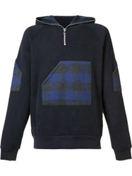 Mostly Heard Rarely Seen Plaid Zipped Neck Hoodie Blue