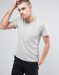 Casual Friday T Shirt In Stripe Light Grey