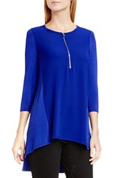 Vince Camuto Women's Half Zip Mixed Media Top Anchor Blue