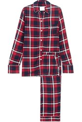 Three J Nyc Checked Cotton Flannel Pajama Set Red