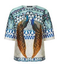 Dolce And Gabbana Peacock Print Kimono Top Male Blue