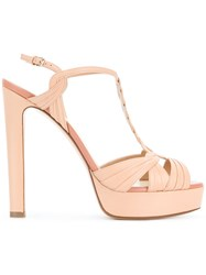 Francesco Russo Hill Platform Sandals Goat Skin Leather Pink Purple