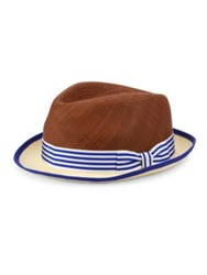 My Bob Frayed Natural Straw Fedora Brown