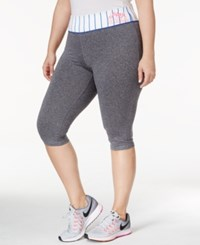 Material Girl Active Plus Size Play Ball Capri Leggings Only At Macy's Heather Platinum