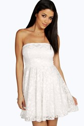 Boohoo Lace Bandeau Skater Dress Cream