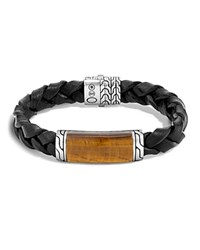 John Hardy Batu Classic Chain Sterling Silver Rectangular Station Bracelet On Braided Black Leather With Tiger Eye Pusher Clasp Brown Black