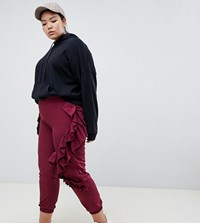 Asos Design Curve Ruffle Joggers In Burgundy Red