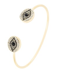 T And C Theodora And Callum Evil Eye Open Bangle Bracelet Black Gold