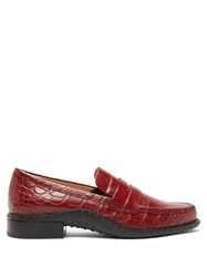 Tod's Gommini Crocodile Embossed Leather Penny Loafers Red